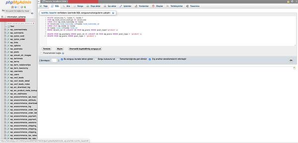 Phpmyadmin veritabanı sql sorgu ekranı