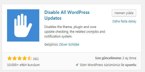 Disable All WordPress Update